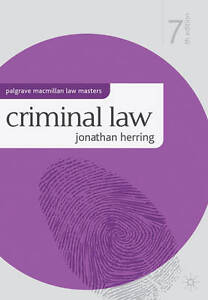 Criminal Law (Palgrave Macmillan Law Masters), Jonathan Herring, Very Good Book