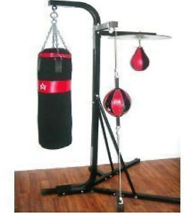 NEW FREE STANDING 3IN1 KICKING PUNCHING BAG SPEED BALL GYM BOXING STAND STATION