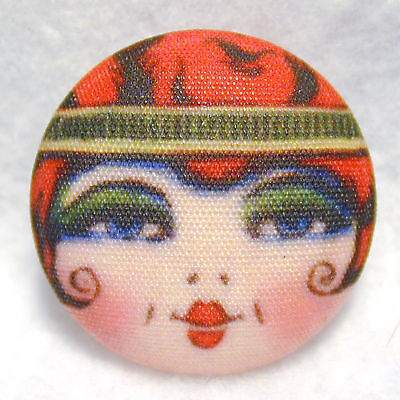 1920s Flapper Girl Button Hand Printed Fabric scarlet Free Us Shipping