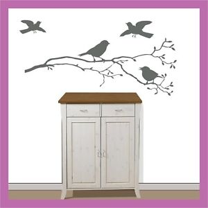 wandtattoo fenster vogel spatz auf ast zweig 60x22cm ebay. Black Bedroom Furniture Sets. Home Design Ideas