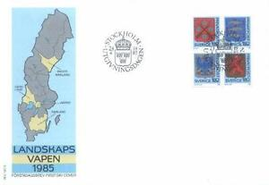 Sweden 1985 Mi 1330-33 FDC Provincial Coat Arms Herby - <span itemprop=availableAtOrFrom> Dabrowa, Polska</span> - Sweden 1985 Mi 1330-33 FDC Provincial Coat Arms Herby -  Dabrowa, Polska
