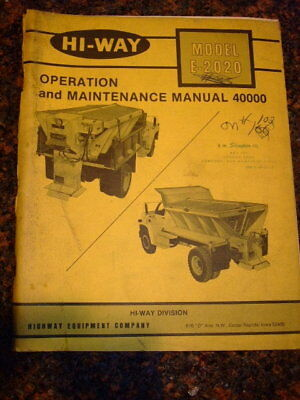 Hi Way E 2020 Operation   Maintenance Manual 40000