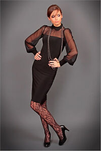 KLEMENTYNA-II-S04-BLACK-DRESS-TULLE-PAFFY-LONG-SLEEVE-L