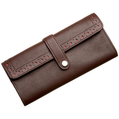 Cross Womans Wallet Accordian Fold Over Brown / Pink