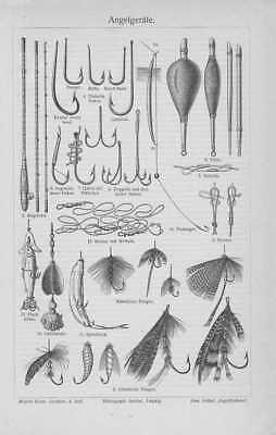 Angeln Blinker Fliegen Angelrute Angelhaken STICH von 1905 Köderfische Knoten