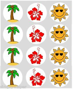 12-Hawaiian-Theme-Cupcake-Decoration-Edible-Cake-Toppers-Pre-Cut-40mm-Palm-Sun