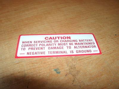 1965 Amc Rambler Classic Battery Warning Caution Decal