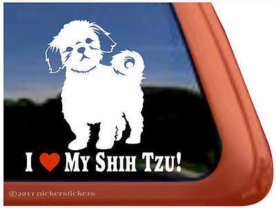 I LOVE MY SHIH TZU! ~  High Quality Shih Tzu Dog Window Decal Sticker