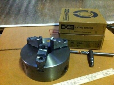 """ROHM (TOP QUALITY) 10"""" 3 Jaw Flat Back H.D. Lathe Chuck New in Box PRICED CHEAP"""