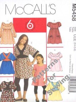 Pattern Mccalls Sewing Children Girl Dress Tops School Sz 3-6