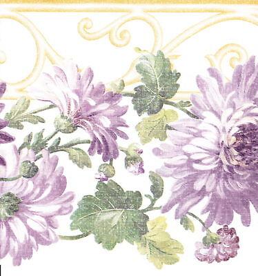 DIE-CUT PURPLE & LAVENDER FLOWERS Wallpaper bordeR Wall
