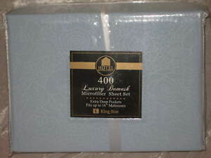 King-400-TC-Cotton-Blue-Embossed-Sheet-Set-Microfiber