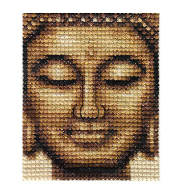 BRONZE BUDDHA  ~ Complete counted cross stitch kit + all materials needed