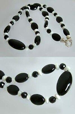 Dekorative Steinkette - Onyx Und Perlmutt - Trendfarben - Collier - Halskette