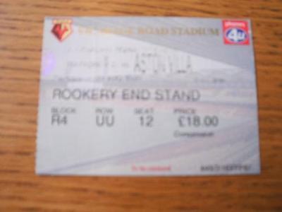24/08/1999 Ticket: Watford v Aston Villa  (Slight Fold)