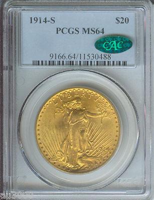 1914 S $20 ST. GAUDENS PCGS MS 64 SAINT MS64 CAC