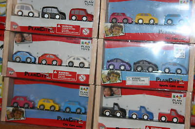 1box, 3 Plan Toys Cars Fits All Wooden Train Track