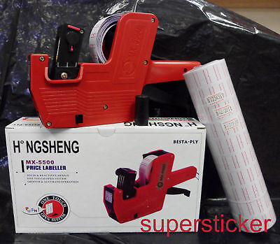 MX-5500 8 Digits Price Tag Gun + 5000 White w/ Red lines  labels +1 Ink