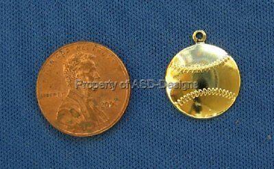 50pc Gold Plated Sports Mlb Baseball Charms 6863