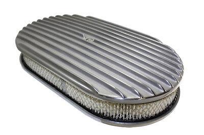 15 Oval Polished Aluminum Full Finned Air Cleaner Kit Hot Rod Rat Rod Custom V8