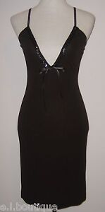 VICKY MARTIN chainmail black bodycon sequin designer mini dress BNWT 8 10 £135