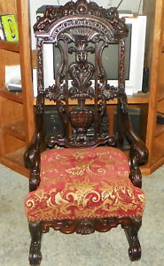 Carved-Griffin-Mahogany-Throne-Chair-Parlor-Armchair-AC93