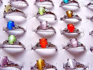 FREE-wholesale-100pcs-colorful-cat-eye-gemstone-rings