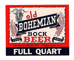 Old Bohemian Bock Beer Bottle Label Hammonton N J