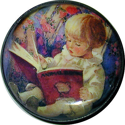 Child Reading Book Crystal Dome Button 1 & 3/8 Sd 14 Free Us Shipping