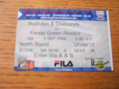 09/09/2000 Ticket: Rushden And Diamonds v Forest Green