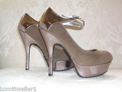 Primark Size 35678 Taupe Faux Suede/metallic High Heel Shoes Brand