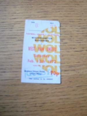 12/02/1972 Ticket: Wolverhampton Wanderers v West Ham U