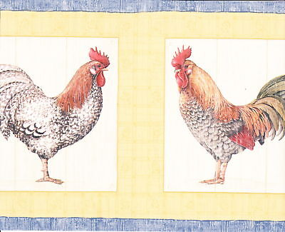 Country Kitchen 4 Kinds Roosters Wallpaper Border Wall