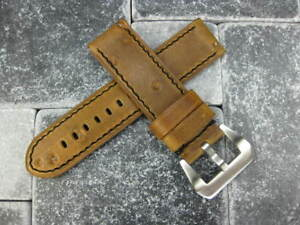 24mm-NEW-MOON-COW-LEATHER-STRAP-Band-for-PANERAI-Brown