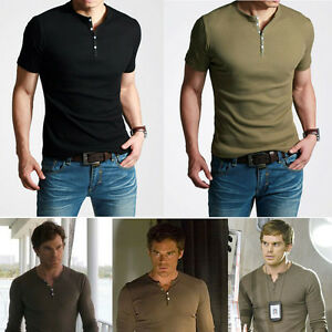 Mens-T-Shirt-Showtime-Dexter-Kill-Shirt-Henley-Short-Sleeve-Slim-Tee-Army-Black