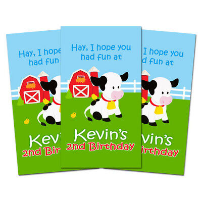 Barnyard Birthday Party - 10 Barnyard Farm Animals Birthday Party Favors Personalized Thank You Tags