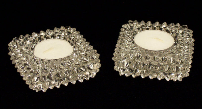 SQUARE SPIKED CLEAR GLASS CANDLE HOLDER SET VERY NICE PAIR