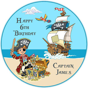 Personalised Pirate Boy & Ship Edible Icing Cake Topper