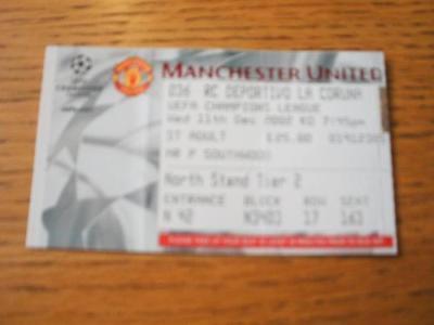 11/12/2002 Ticket: Manchester United v Deportivo La Cor