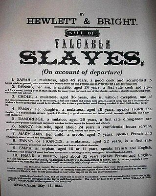 "(086) SLAVERY VALUABLE SLAVE NEGROE AUCTION CIVIL WAR BROADSIDE 11""X14"""