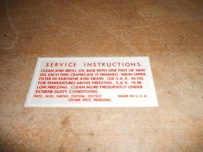 1952 1953 1954 1955 1956 Ford Car Oil Bath Air Cleaner Side Service Decal