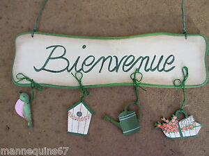Decoration bois jardin porte maison bienvenue rose for Decoration porte bienvenue