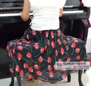 Womens-Ladies-Chiffon-Skirt-Floral-Skirt-Below-Knee-Skirt-XS-3XL-GF0669