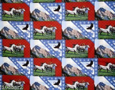 Horse Fabric Patriotic Quilt Cotton Fabric Bald Eagle & Horse Fabric Bty