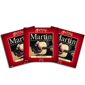 3 PACK Set Martin LIGHT Acoustic Guitar Strings M140 FREE PEG WINDER!