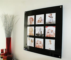 LARGE MODERN MULTI MAGNETIC GLOSS BLACK ACRYLIC PICTURE