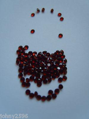 round garnet loose gemstone size 2mm round cut,5 for £1.50p.