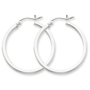 Womens-Ladies-925-Sterling-Silver-Rhodium-plated-2mm-Square-Tube-Hoop-Earrings