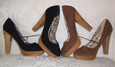 Bnwob Primark Size 3 4 5 6 7 8 Tan Black Faux Suede Court Shoes