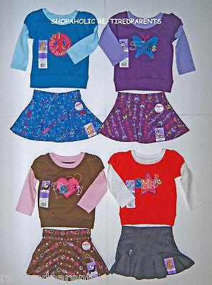 Garanimals - Layered Look Top & Skirt Set – Blue - Brown - Red - Sz 12 Mo –